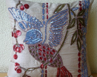 Decorative Throw Pillow Covers 20x20 Embroidered Accent Pillow Case Couch Sofa Bed Toss Pillows Pearl Silk Sequins Pillows Bird of a Feather