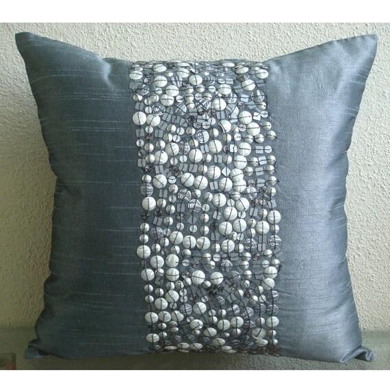 Designer Grey Pillows Cover 16x16 Silk Pillow