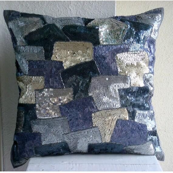 decorative pillow sham covers 24x24 grey silver silk. Black Bedroom Furniture Sets. Home Design Ideas