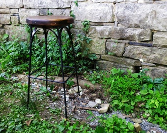 Reclaimed Wood Industrial Style French Bistro Stool