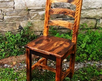 Burnt Oak Reclaimed Wood Arched Slat Rustic Dining Chairs