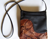 Black Leather Purse Handbag with Leaf Accent in Brown - Cross Body Style