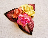 Ginger, Apricot, Strawberry pink Mixed bunch Vintage style Millinery Flower spray Bouquet- corsage, floral shabby chic-32514 OOAK