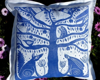 cushion cover, pillow cover, sofa cushion, scatter cushion,  decorative pillow, pillow case, tree of life, blue, fox, hare, blue and white
