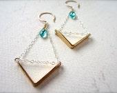 Arrow Earrings - mixed metal chevron earrings, teal chevron chandelier earrings, apatite earrings, classy modern handmade arrow jewelry