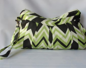 CLERANCE SALE FFRitzy Stripe Wristlet Zippered Bag, Clutch Wristlet Bag, Zipper Pouch, Handbag Amy Butler Fabric, birthday gifts for mom