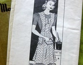 1940s Vintage Sewing Pattern - Marian Martin 9863 - Bib Pinafore APRON / Medium 36-38