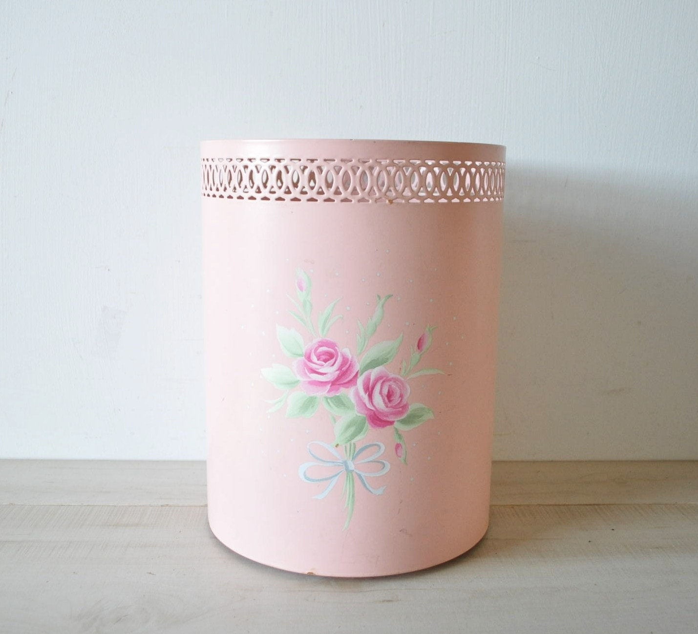 Vintage 70s Shabby Chic Pink Trash Can