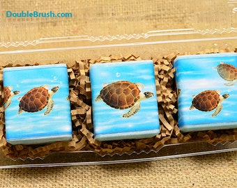 Turtle Gifts Original Sea Turtle Art Print On 3 Candle Gift Set Sea Turtle Decor Candles