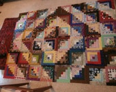 LOG CABIN QUILT top to complete  diy log cabin quilt 66 x 49 inches Reduced