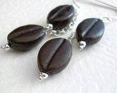Brown Coffee Bean Earrings, Espresso Lover Gift , Barista Jewelry, Coffee Earrings