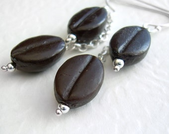 Brown Coffee Bean Earrings, Espresso Lover Gift, Barista Jewelry, Coffee Earrings