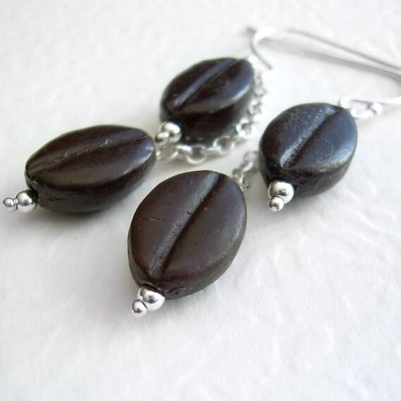 Brown Coffee Bean Earrings, Espresso Lover Gift, Barista Jewelry, Coffee Earrings