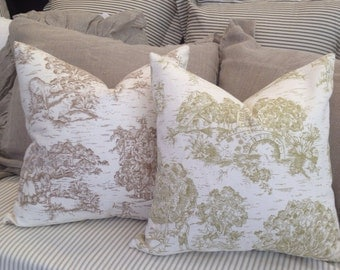 Toile Throw Pillow Cover