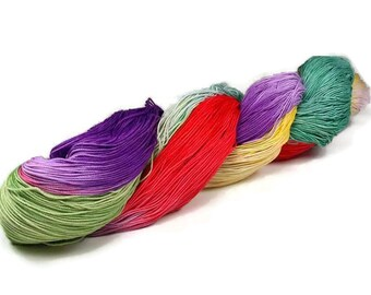 150 Yards Hand Dyed Cotton Crochet Thread Size 10 3 Ply Purple Sea Foam Yellow Red Green Fine Cotton Yarn