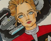 4x6 Captain Janeway Star Trek Voyager Marker Sketch Card - Original Drawing