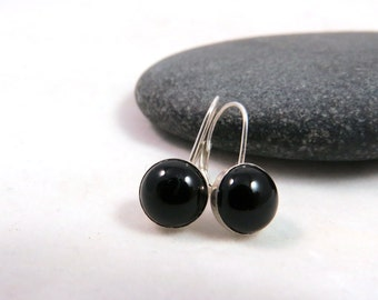 Petite Classic Black Earrings - Fused Glass and Sterling Silver Leverback Earrings