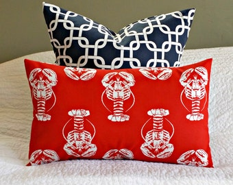Outdoor Red Lobster Lumbar Pillow Cover