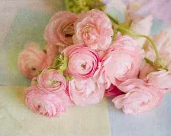 Still Life Photography - Pink Bouquet Ranunculus Flowers Photo Soft Romantic Watercolor Texture Still Life Girls Room Decor Pastel Pink Art