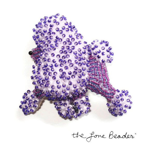 PURPLE POODLE Beaded miniature keepsake dog pin pendant - Gift for Her/ Ready to Ship/ Free US Shipping