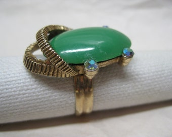 Green Aurora Gold Rhinestone Ring Vintage Adjustable Modern