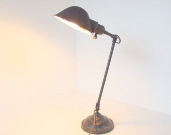 Vintage Industrial Desk Lamp with Round Light Shade