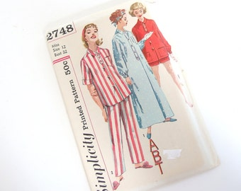 UNCUT Vintage 1960's Nightgown and Pajamas, Simplicity 2748 Sewing Pattern, Size 12, Bust 32 Inches
