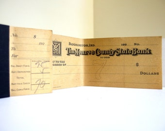 Vintage 1920's Checkbook for Altered Art, Banking Collectors