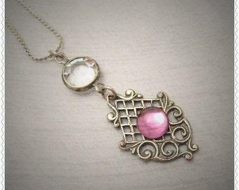 Filigree Pendant Necklace Pink N5551