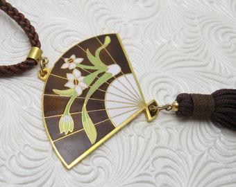 Asian  Enamel Fan Necklace Black Tasseled Pendant Vintage Jewelry N5596