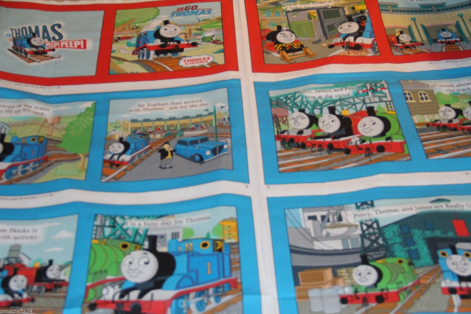 Vip cranston thomas the train fabric book fabric by pmscrafts for Kids train fabric