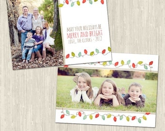 Christmas Whimsy Holiday Photo Card   Photoshop Templates for Photographers   Instant Download   CS6002c