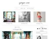 Premade Blogger Template - GINGER ROSE - Responsive Template - Graphic Design - Blog Template