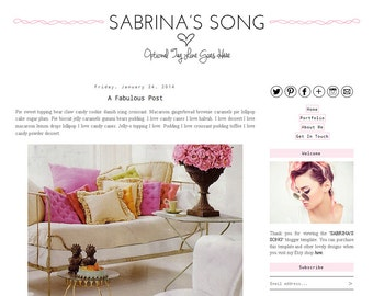 Premade Blogger Template - SABRINA'S SONG - Mobile Responsive - Graphic Design - Blog Template