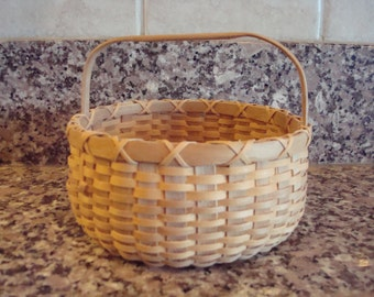 Small native American ash gathering basket with wood handle-Maine