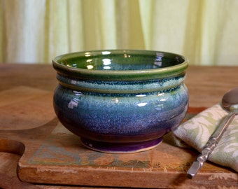 Bowl ceramic, serving cereal, soup dessert, stoneware tableware, glazed in purple green, handmade by hughes pottery