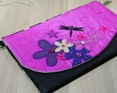 Magenta, Purple, Black, Gold Clutch - Flower - Dragonfly - Evening Bag - Purse - Detachable Chain - Zip - Pocket - Wedding - Party - Gift