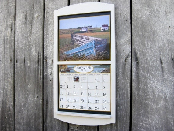 Calendar Wooden Frame : Wood frame calendar holder classic white large