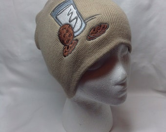 Chocolate Chip Cookies and Glass of Milk Beanie Skullcap Hat