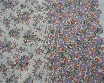 Garden Border Print - Vintage Fabric a MOD Shabby Chic Border Purple Orange