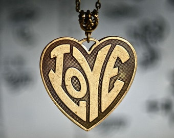 Hippie LOVE Heart Necklace - Made in USA Stamping - Insurance Included