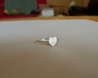 Sterling silver heart stacking ring in your size