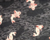 Japanese cotton print - 1/2 yard of black Koi