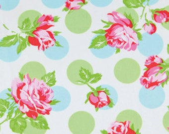 Laminated Cotton Oilcloth - Craft and Splat Mat -  Falling Roses in Blue and Green