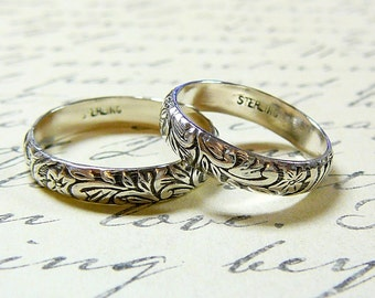 Vintage Style Sterling Silver Floral Wedding Bands - Matching pair