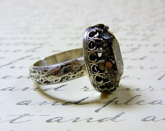 Gothic Sterling Silver Hammered Band with Swarovski Black Patina Crystal Ring