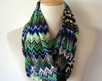 Chevron Infinity Fabric Scarf Blue Green Black  White Yellow Knit Stripes Zig Zag
