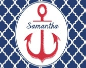 Custom personalized note cards nautical anchor red white blue  children stationery kids notecards