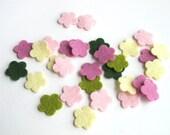 Felt Flowers, Set of 30, Floral Bouquet Story, Pastel Flowers, Die Cut Shapes, Applique, Confetti, Party Supply,  DIY Wedding