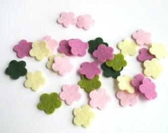 Felt Flowers, Set of 30, Floral Bouquet Story, Pure Wool Shapes, Pastel Flowers, Die Cuts, Applique, Confetti, Party Supply,  DIY Wedding